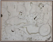 eduardo benito original drawing ladies having picnic