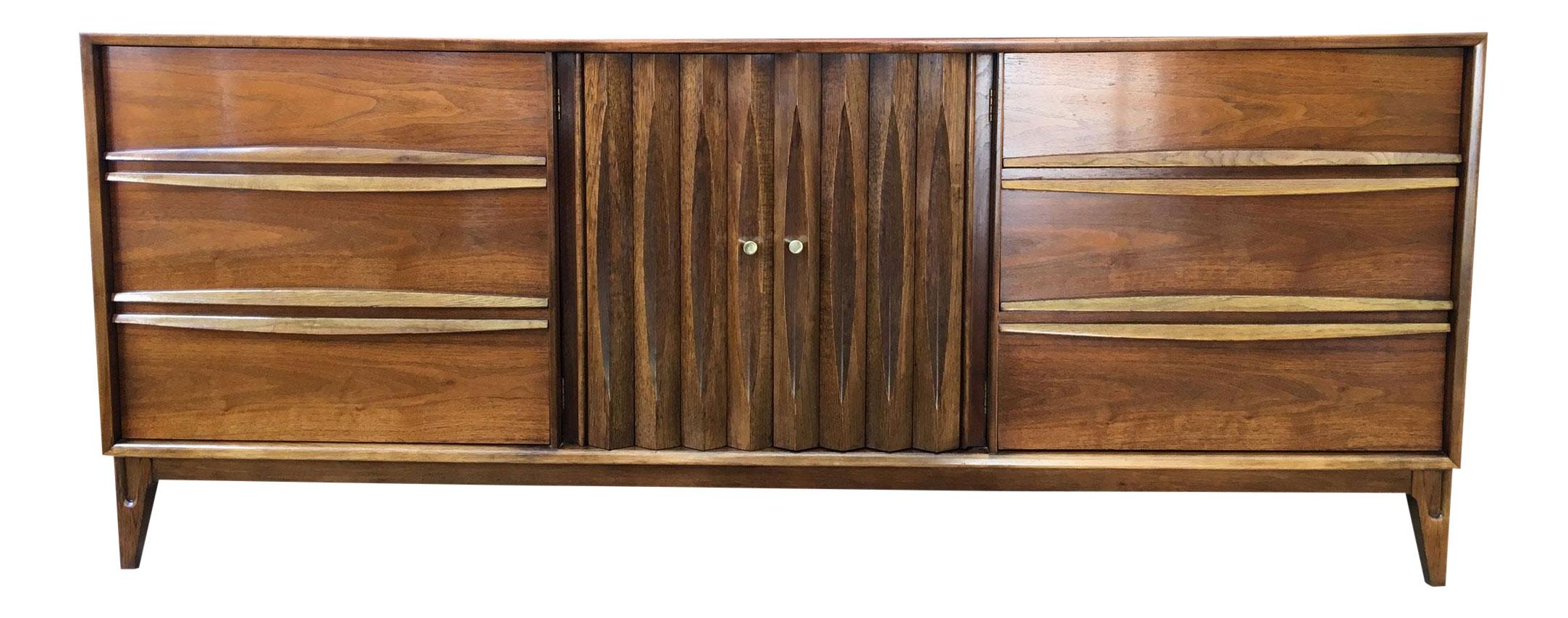 Mid Century Modern Sculpted Walnut Dresser Credenza