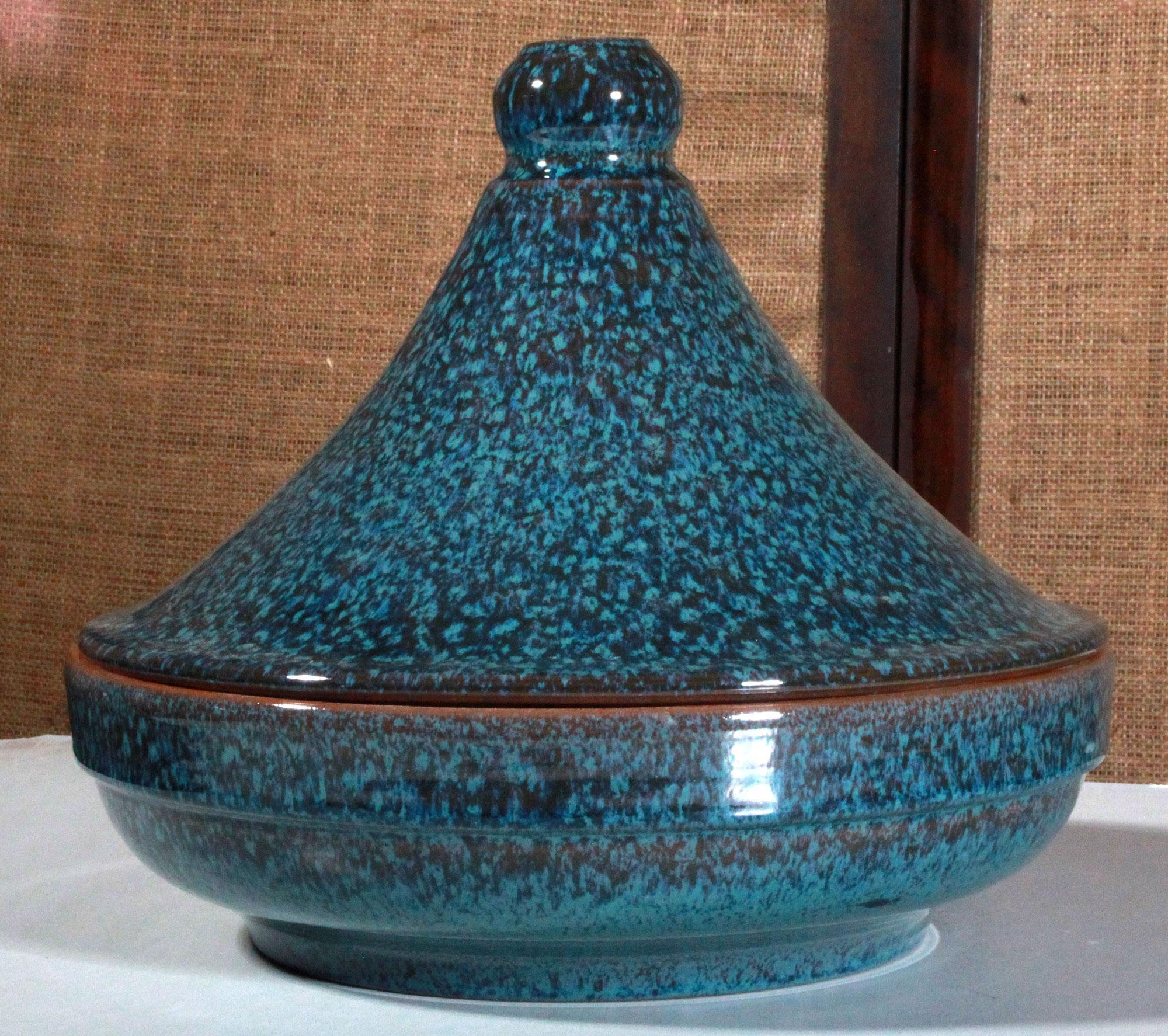 Spanish Ceramic Blue Glazed Clay Tagine Atomic Flat