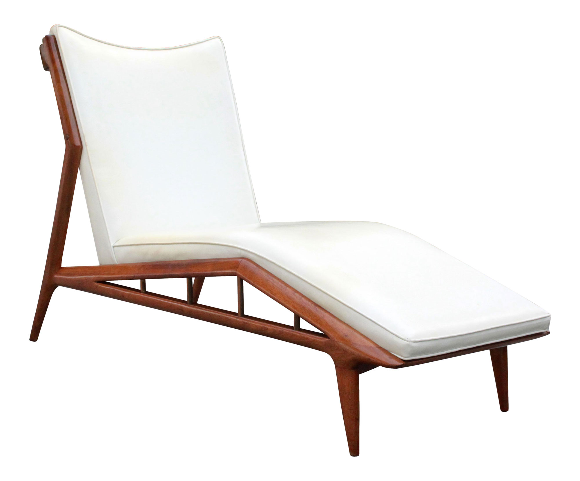 Beautiful Erwin Lambeth Sculpted Walnut Chaise Lounge With Chaise En Z.