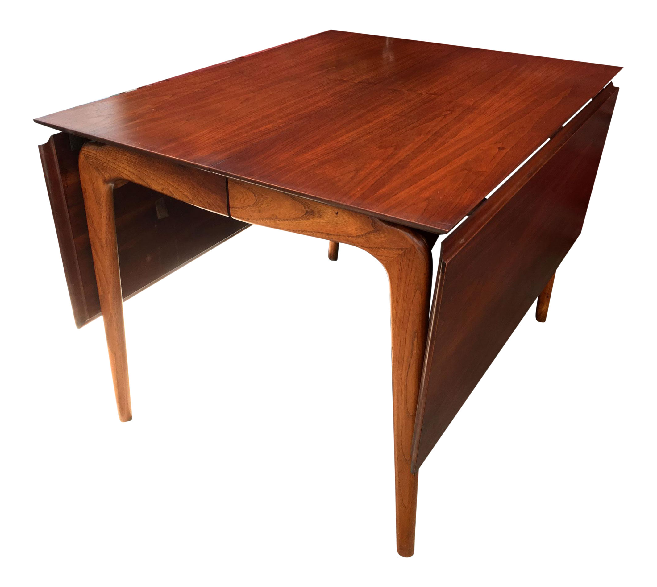 Lane Perception Walnut Drop Leaf Dining Table Atomic Flat