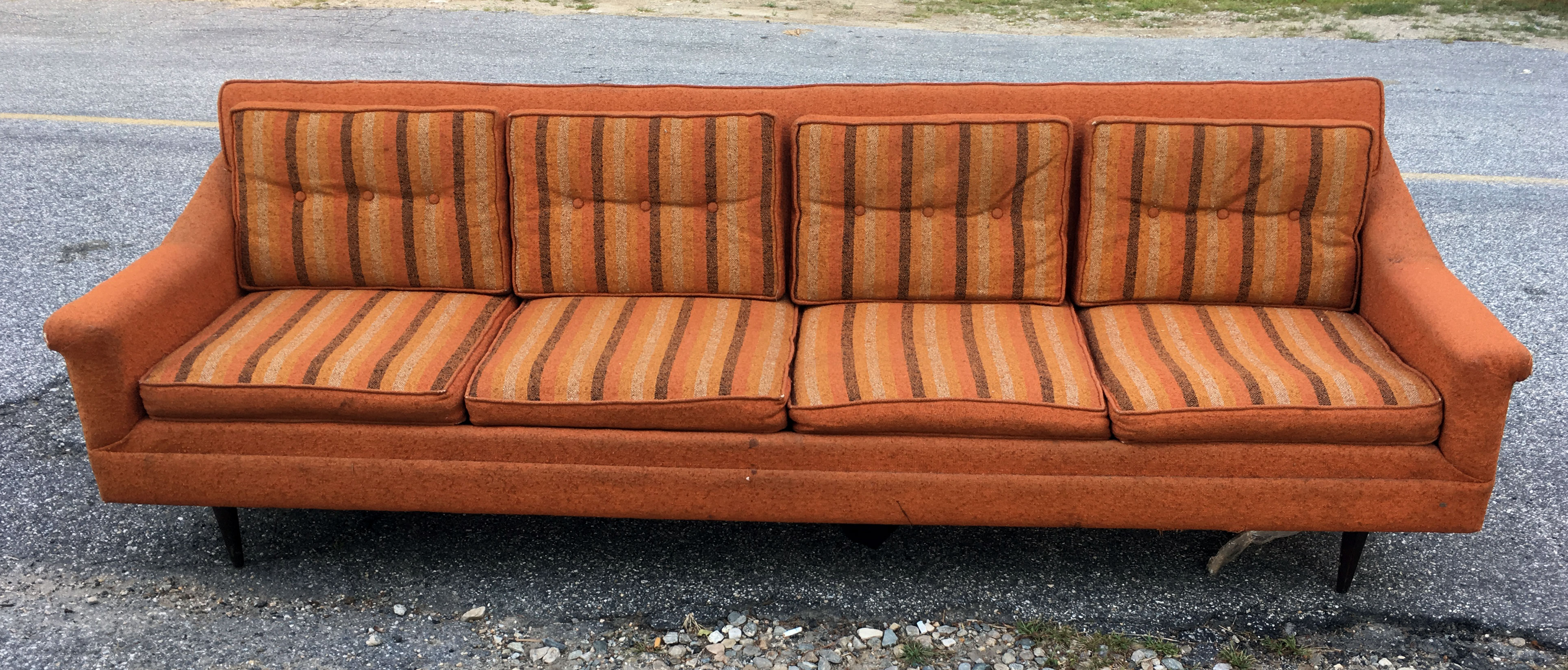 Mid Century Modern Long & Low Sofa As Is – Atomic Flat